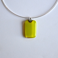 "LIME pendant with 18"" sterling silver neck wire"